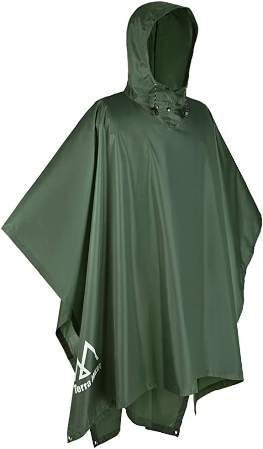 Ripstop One Size Fits All Waterproof Rain Cape Olive Green Ripstop Poncho