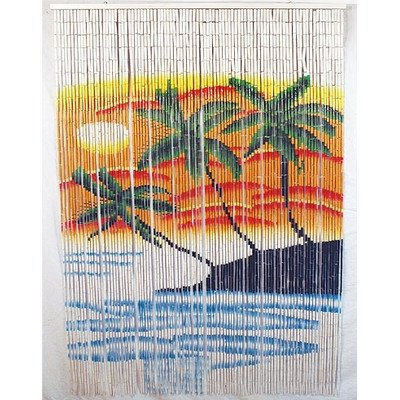 (Bamboo Island Sunset Painted Curtain Room Divider)