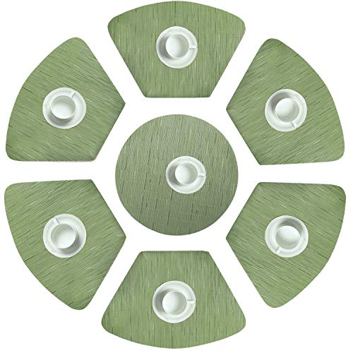 HEBE Wedge Placemats with Centerpiece Set of 7 for Round Table Heat Resistant Stain-Resistant Washable Vinyl Kitchen Table Mats, Green