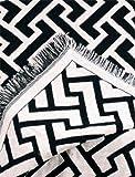 "Black Harrington Zigzag Eco2Cotton Afghan Throw Blanket 50"" x 60"""