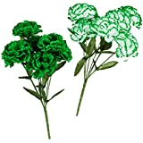 Saint Patrick's Day Kelly Green and White Silk Carnation Flowers Bushes 13""