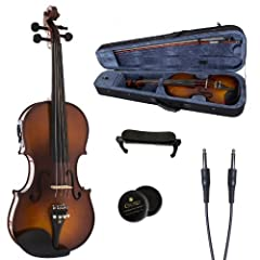 Cecilio CVNAE acoustic/electric violins are perfect for beginner or student violinist. It features hand-carved solid spruce top, hand-carved maple back and sides. This violin is fitted with ebony fingerboard, pegs, chinrest, and tailpiece wit...