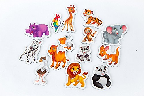 Refrigerator magnets for kids ZOO - 14 Foam magnets for toddler - Fridge magnetic set for children - Baby development toys - Study magnets for babies - Animals toys