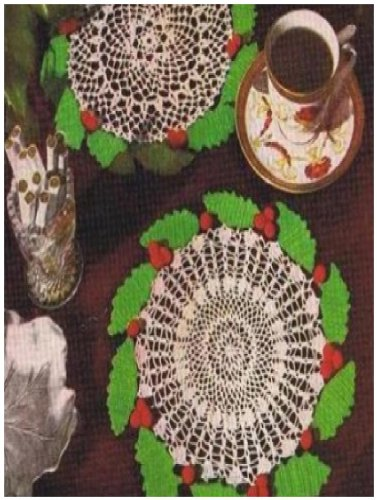 (#0866 HOLLY WREATH DOILY VINTAGE CROCHET)