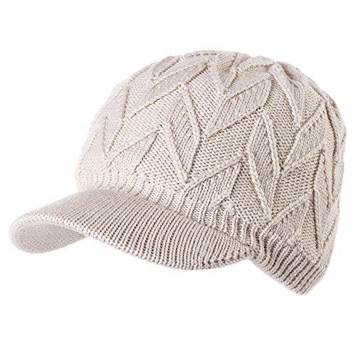 Womens 100% Wool Knit Visor Beanie Newsboy Cap Winter Fleece Lined Hat Cold Snow Girl Beige