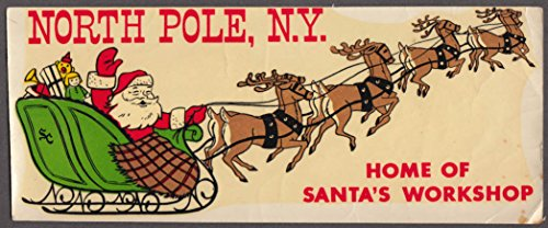 (North Pole New York Home of Santa's Workshop car window decal 1950s )