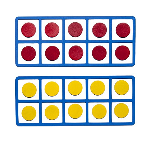 Learning Advantage Giant Magnetic Foam Ten Frames - Includes 2 Frames with 20 Disks - Math Manipulative 10 Frame Activity for Kids - Teach Number Concepts, Addition and Subtraction