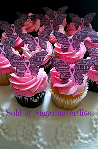 Breast Cancer Awareness Edible Pink Ribbon Butterflies- Cake/cupcake Toppers Set of -