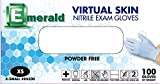 Emerald Virtual Skin Nitrile Exam Powder-Free Gloves 4 mil Small, Case (10 BX/CS)