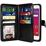 NEXTKIN LG Tribute HD LS676 Case, Leather Dual Wallet Folio TPU Cover, 2 Large Pockets Double flap, 8 Card Slots Snap Button Strap For LG Tribute HD LS676 X Style 5 inch X Skin L56VL L53BL - Black