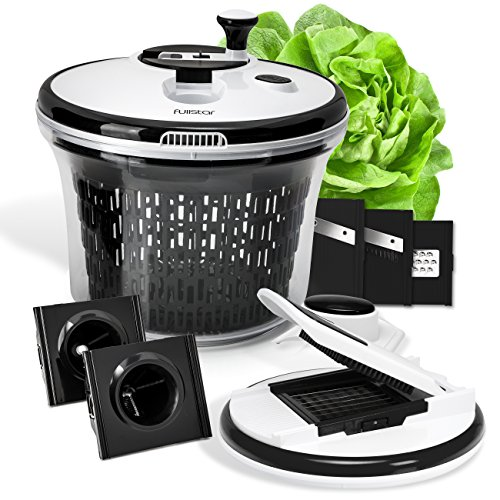 Premium Salad Spinner Set with Mandoline , Spiralizer and 6 interchangeable Stainless Steel Blades by Fullstar (Food Processor That Dices compare prices)
