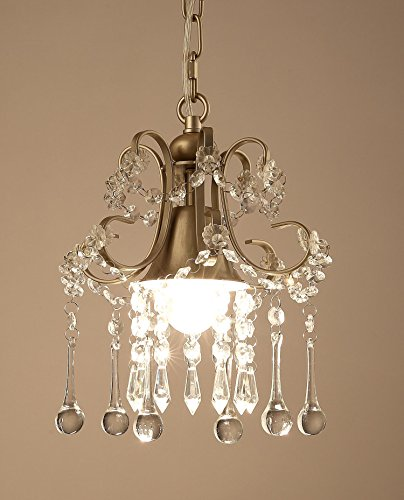 Garwarm Mini Style Clear Crystal Chandeliers, Ceiling Lights,Crystal Pendant Light,Ceiling Light Fixtures for Living Room Bedroom Restaurant Porch Chandelier,1-Light,Champagne by Garwarm (Image #1)