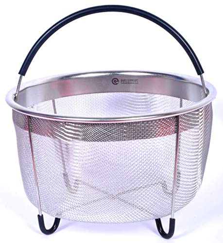 EasyComfort Instant Pot Accessories Steamer Basket 6 quart – Egg Basket/Insert is Stainless Steel with Silicone Covered Handle and Legs for Non-Slip - The 5/6 qt fits all InstaPot Pressure Cooker