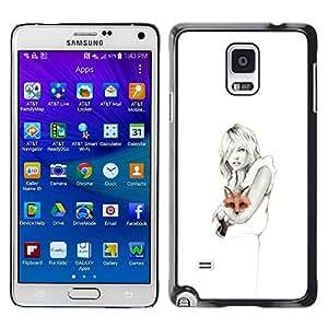 rígido protector delgado Shell Prima Delgada Casa Carcasa Funda Case Bandera Cover Armor para Samsung Galaxy Note 4 SM-N910F SM-N910K SM-N910C SM-N910W8 SM-N910U SM-N910 /White Clean Pencil Art Lady Pretty/ STRONG