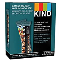 KIND Nuts & Spices, Almond, Sea Salt and Dark Chocolate Gluten Free Bars, 1.4 Ounce, 12 Count