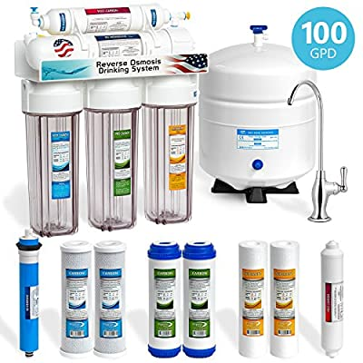 Express Water 5 Stage Under Sink Reverse Osmosis Filtration System 100 GPD RO Membrane Filter Deluxe Faucet Clear Housing Ultra Safe Residential Home Drinking Water Purification Extra Set of 4 Filters