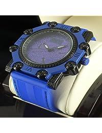 King Jojo Master Bling Blue Black Simulated Diamond Icy Freeze Watch Low Price