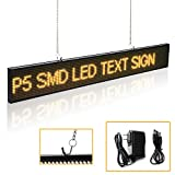 Leadleds Message Board P5-K16128Y 26 x 4-Inch Led Advertising Sign for Home Office Car Barber Beer Coffee Beauty Salon, Amber