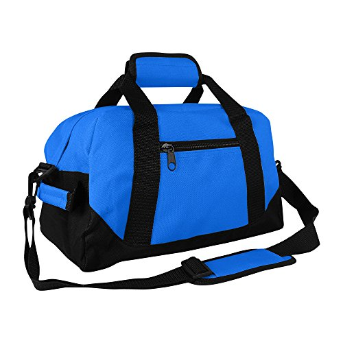 """14"""" Small Duffle Bag Two Toned Gym Travel Bag in Royal Blue"""
