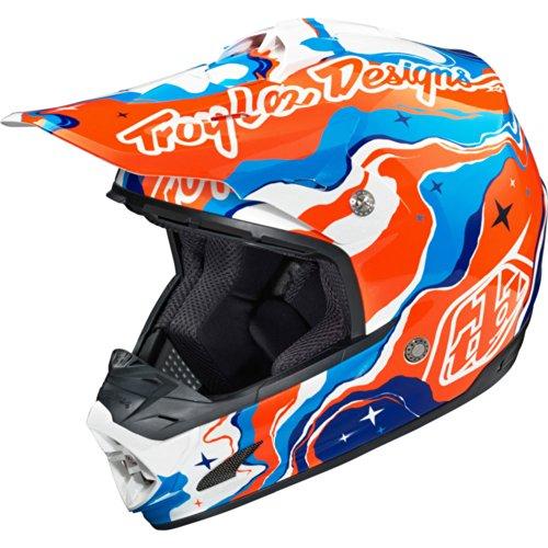 Troy Lee Designs Galaxy SE3 Motocross/Off-Road/Dirt Bike Motorcycle Helmet - Blue/Orange / Medium (Troy Lee Dirt Bike Helmet)