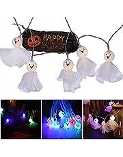 TSLBW Halloween dekoration ljusslingor 10 LED spöke skelett skalle ljusslingor 20 cm halloween festdekoration läskigt färgglatt ljus utomhus och inomhus dekor