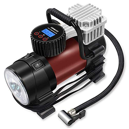 Digital Tire Inflator  GOOLOO Electric 12V DC 150 PSI Portable Auto Air Compressor Pump with Preset Pressure Shut Off Gauge and Emergency Light for Car Tyre, Motorcycle, Bicycle and Other Inflatable