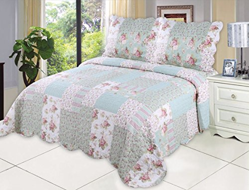 English Roses Quilt set, Cotton Rich,Prewashed, Preshrunk.As Bedspread, Bedcover,Coverlet, Bed Throw (Queen Quilt Bedding Set Rose)