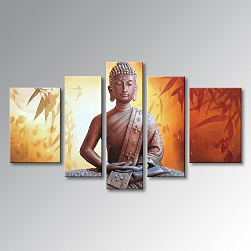 Winpeak Art Framed Huge Handmade Buddha Wall Art on Canvas Abstract Oil Painting Modern Contemporary Decor Stretched Ready to Hang (68''W x 40''H (16''x24'' x2, 12''x32'' x2, 12''x40'' x1)) by Winpeak Art