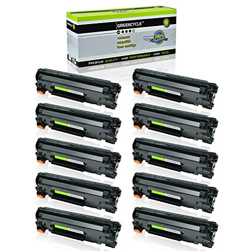 GREENCYCLE 10 Pack Black Cartridge Compatible for HP 85A CE285A CE285 Toner Cartridge for HP Laserjet Pro P1102W P1102 P1100 M1212NFW M1212NF M1210 M1132 M1130 Laser Printer (Hp Laserjet Cartridge 85a)