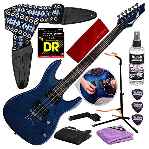 Dean Custom 350 Electric Guitar, Trans Blue with Guitar Stand & Care Kit Deluxe Accessory Package