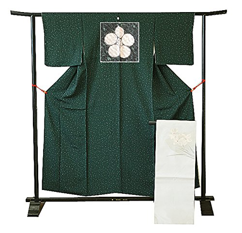 博多着物市場 きものしらゆり 裄61.8cm S寸 お茶事 たたき染 小紋 なごや帯 セット 正絹 未使用 仕付糸付 袷 バチ衿 梅鉢