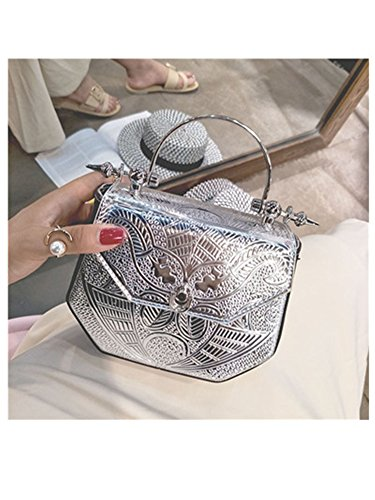 New Women Handbags Metal Patchwork Shinning Shoulder Bags Ladies Print Day Clutch Wedding Party Evening Bags Silver ()