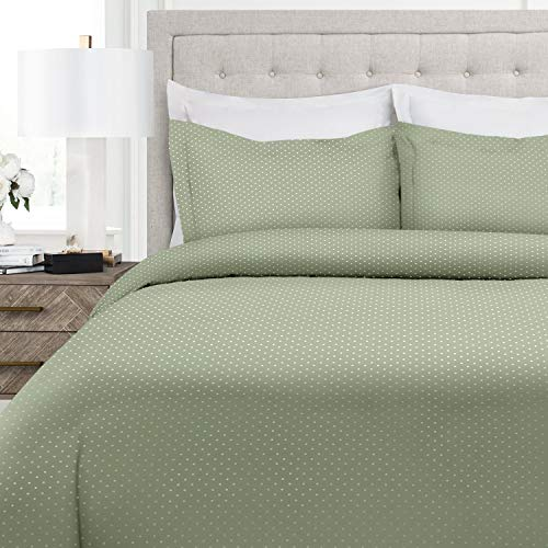 Italian Luxury Pindot Pattern Duvet Cover Set - 3-Piece Ultra Soft Double Brushed Microfiber Printed Cover with Shams - King/California King - Sage/White
