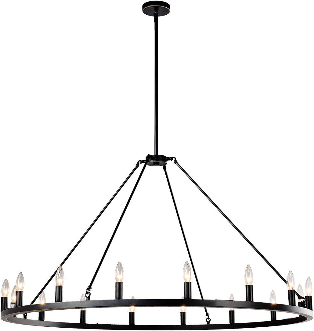 "7Pandas Large Round Kitchen Island Light, 50"" 16-Light Farmhouse Wagon Wheel Chandelier for Kitchen Island Dining Room Light Fixtures and Hanging Pendant Lighting, Bronze"