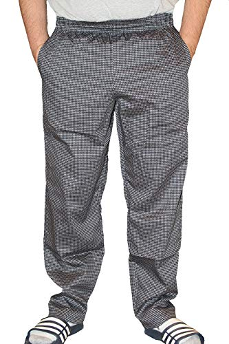 Mens Traditional 100% Cotton Baggy Chef Pant (Grey Houndstooth, 2XL)