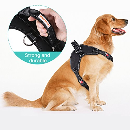 Babyltrl Lightweight No Pull Dog Harness for Medium Large Dogs, Adjustable, Easy to Wear, Reflective Design, Sturdy Handy Handle, Oxford Soft Vest for Outdoor Walking(L, Black)