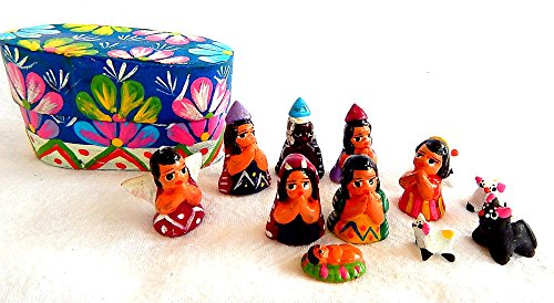 Small Handmade Guatemalan Nativity 12-piece Set with Blue Box Clay Nativity Set