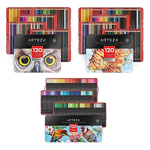Arteza Colored, Watercolor Pencils and Fineliner Pens Bundle