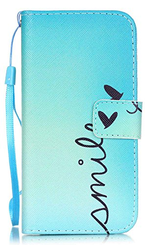 (iPhone 8 Wallet Case, iPhone 7 Case, JanCalm [Wrist Strap] [Kickstand] Pattern Premium PU Leather Wallet [Card/Cash Slots] Flip Cover for Apple iPhone 7 / iPhone 8 (Smile))