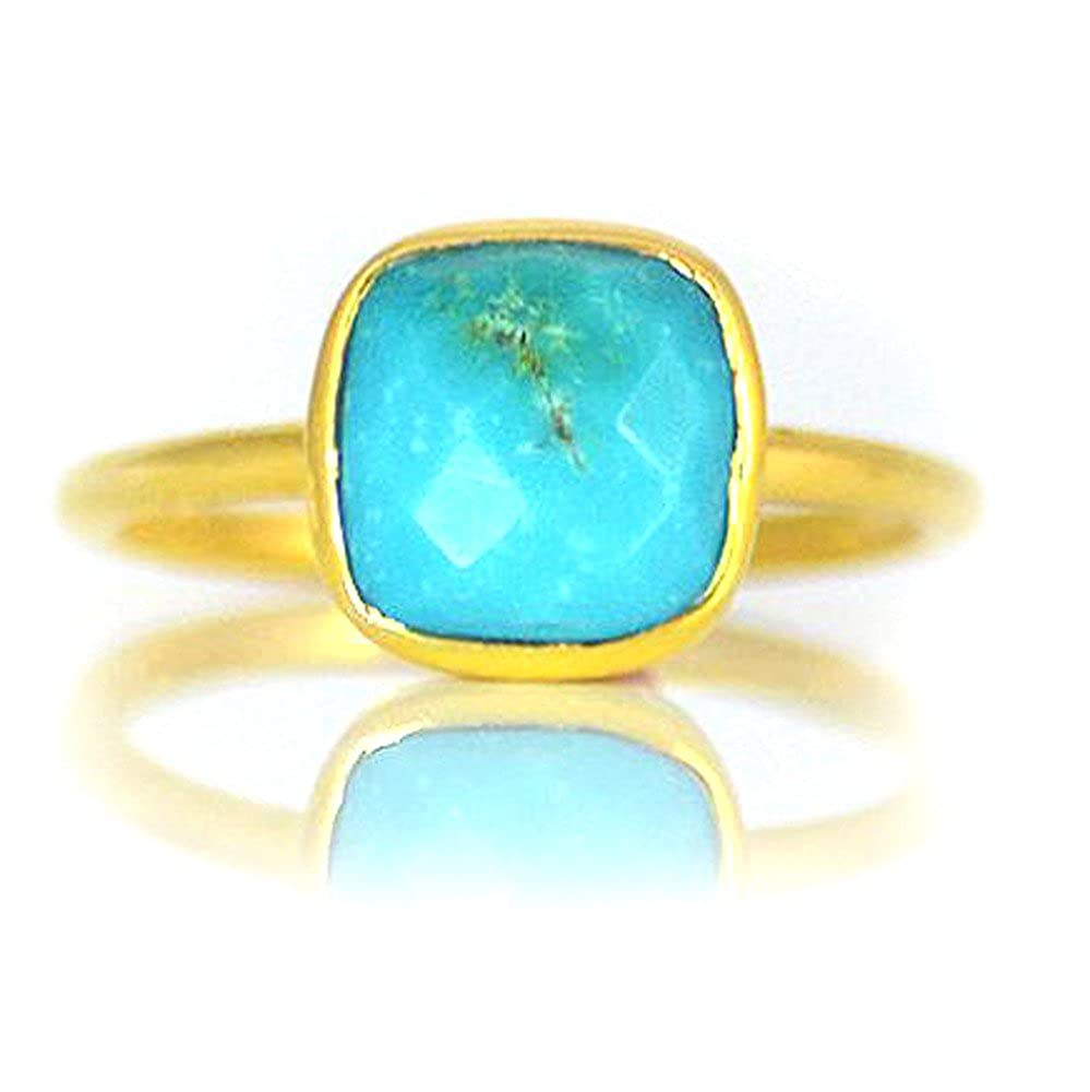 DV Jewels Turquoise Cushion Cut Bezel Set Faceted Ring