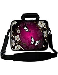 """9.7"""" 10"""" 10.1"""" 10.2"""" Inch Neoprene Laptop Bag with Extra Side Pocket, Soft Carrying Handle & Removable Shoulder Strap For 9"""" to 10.6"""" Laptops/Ipad/ Netbook/ Tablet/Reader ( Butterfly and Flower)"""