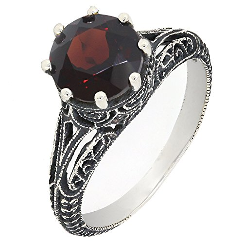 BL Jewelry Antique Finish Filigree Sterling Silver Round Cut Natural Garnet Peridot Ring (2 CT.T.W) (6, garnet)