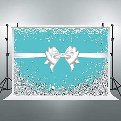 Riyidecor Tiffany Blue Bow-Knot Birthday Backdrop 7x5ft Turquoise Photography Background Silver Pearl Necklace Diamonds Fabric Booth Props Bridal Wedding Girl's Party Studio Shoot Blush Vinyl Cloth ...]()