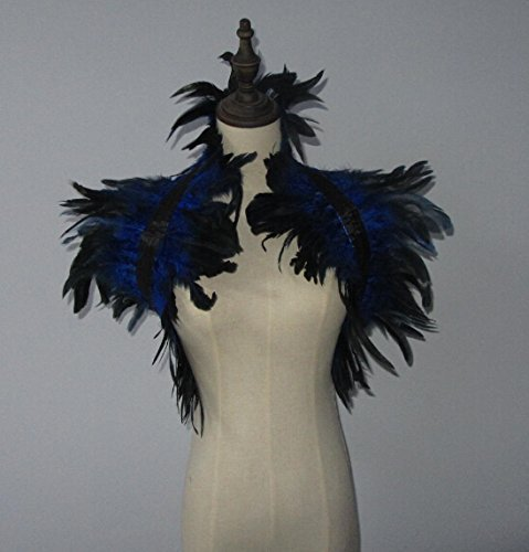 2 Layer Royal Blue Hnadmade Feather Cape SHAWL Shrug Shoulders Halloween costume ,vintage capelet for Adult]()