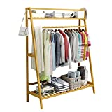 Byx- Wooden Coat Rack,Bamboo Clothing Rack Shoe Rack Multifunction Floor-Standing 2-Tier Storage Racks for Entrance Living Room Bedroom -Clothes Drying Rack (Size : 80x40x140cm)