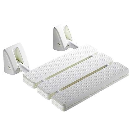 Asiento de ducha montado en la pared, plegable anti-deslizamiento baño taburete baño inodoro sillas antiDeslizantes para adultos mayores cuarto de ...