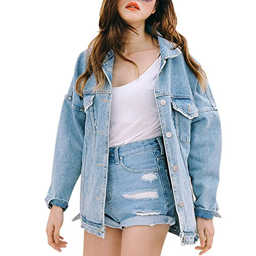 JudyBridal Womens Denim Jacket Boyfriend Loose Fashion Distressed Oversized Jean Jacket Blue - Oversized Denim
