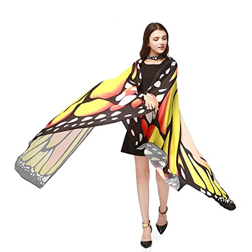 FengGa Cloak Accessory Fashion Wings Shawl Scarves Ladies Nymph Pixie Poncho Costume Accessory Soft Shawl Yellow