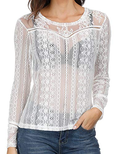 Womens See Through Mesh T Shirt Top Long Sleeve Blouse Clubwear White L ()