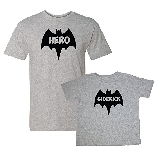 We Match! Bat Hero & Sidekick Super Hero Matching Adult T-Shirt & Child T-Shirt Set (Youth X-Large T-Shirt, Adult T-Shirt XL, Sport Grey) ()